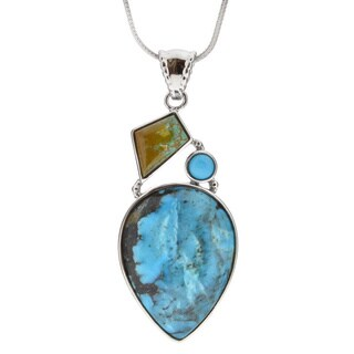 Sterling Silver Pear Turquoise Necklace with 18-inch Snake Chain (China)
