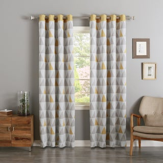 Aurora Home Mix Triangle Print Room-Darkening Silver Grommet Top Curtain Panel Pair