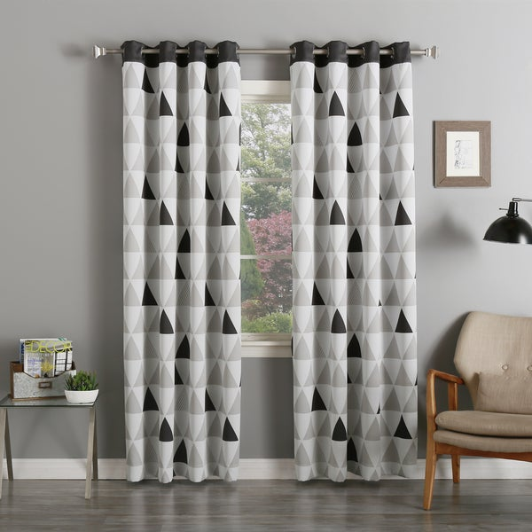 Aurora Home Mix Triangle Print Room-Darkening Silver Grommet Top Curtain Panel Pair - 52 x 84