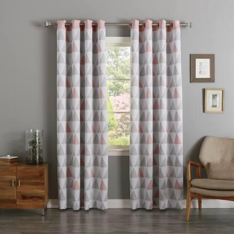 Aurora Home Mix Triangle Print Room-Darkening Grommet Curtain Pair - 52 x 84 - 52 x 84
