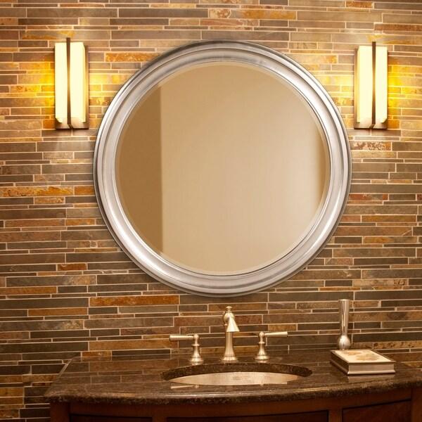 Allan Andrews George Round Nickel Wall Mirror - N/A