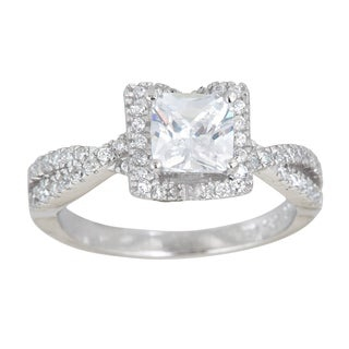Decadence Sterling Silver Micropave Princess-cut Cubic Zirconia Halo Ring