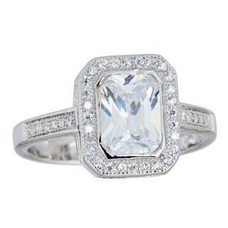 Decadence Sterling Silver Micropave Radiant-cut Cubic Zirconia Halo Ring