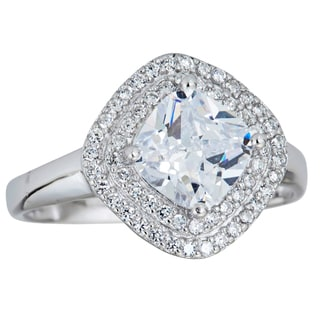 Decadence Sterling Silver Micropave Double Halo Radiant-cut Cubic Zirconia Ring
