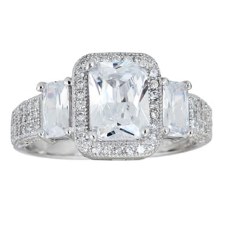 Decadence Sterling Silver Micropave Radiant-cut Cubic Zirconia Ring