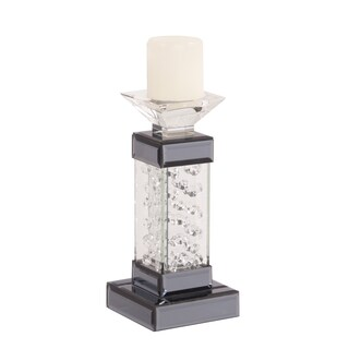 Allan Andrews Small Mirrored Pedestal Candleholder with Glass Crystal Accents