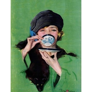 "Marmont Hill - ""Elegant Lady Drinking Cup of Tea"" by Penrhyn Stanlaws Painting Print on Canvas"