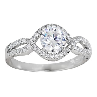 Decadence Sterling Silver Micropave Round-cut Cubic Zirconia Halo Ring