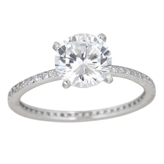 Decadence Sterling Silver Micropave Round Solitaire Cubic Zirconia Ring