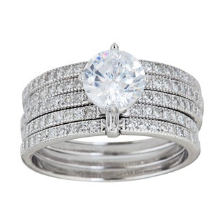 Decadence Sterling Silver Micropave 5 Band Round-cut Cubic Zirconia Ring