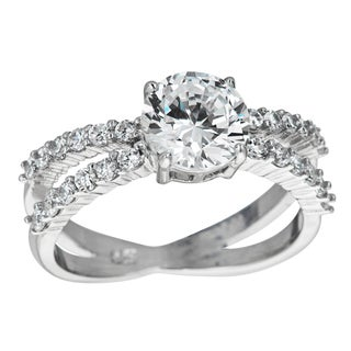 Decadence Sterling Silver Micropave Round Solitaire Cubic Zirconia Spilt Shank Ring