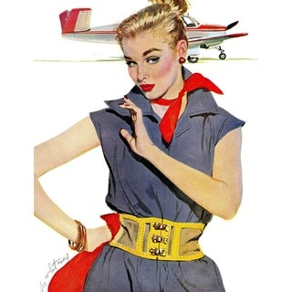 "Marmont Hill - ""The Girl Who Stole Airplanes"" by Coby Whitmore Painting Print on Canvas"