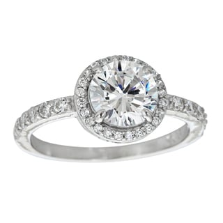 Decadence Sterling Silver Micropave Halo Round-cut Solitaire Cubic Zirconia Ring