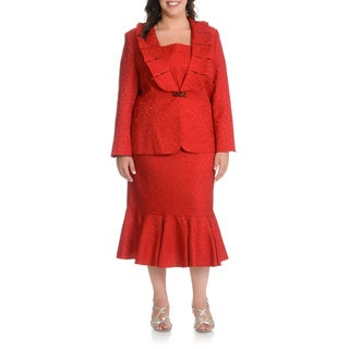 Giovanna Signature Women's Plus Size Ruffled Skirt Suit