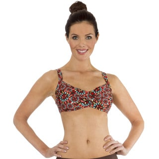 Mazu Swim Metal Leaf Brown Twist Front Bikini Top