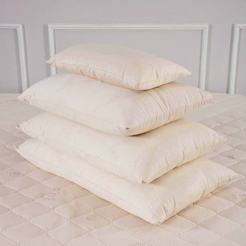 All Organic Cotton Cover and Wool-Filled Pillow - White