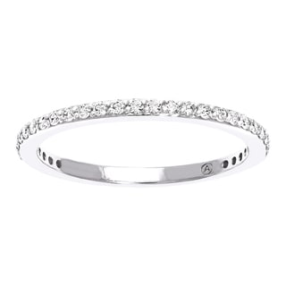 Beverly Hills Charm 10k White Gold 1/4ct TDW Diamond Anniversary Stackable Band Ring (H-I, I2-I3)