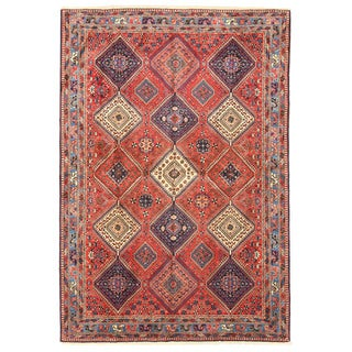 Hand-knotted Wool Rust Traditional Oriental Yalameh Rug (6'7 x 9'6)