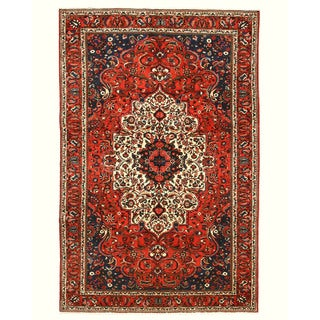 Hand-knotted Wool Rust Traditional Oriental Bakhtiar Rug (6'7 x 9'10)