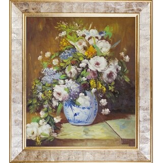 Pierre-Auguste Renoir 'Grande Vase Di Fiori' Hand Painted Framed Canvas Art