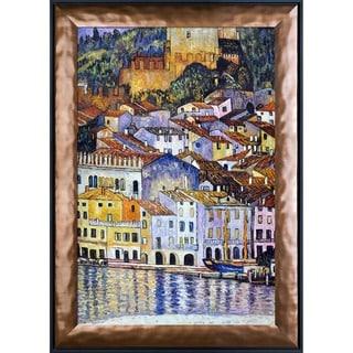 Gustav Klimt 'Malcesine on Lake Garda' Hand Painted Framed Canvas Art
