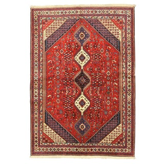 Hand-knotted Wool Red Traditional Oriental Yalameh Rug (6'10 x 9'10)