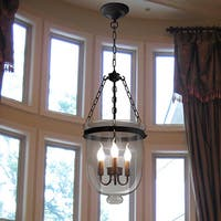 Vashti 3-light Clear Glass 12-inch Chandelier with Bulbs