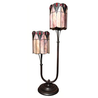 Summer 2-light Pink Tiffany-style 29-inch Table Lamp