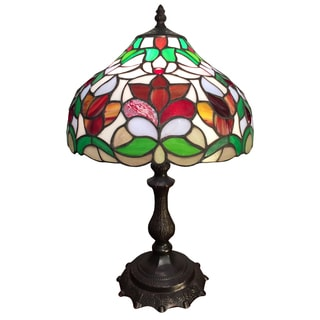 Sandara 1-light Floral Tiffany-style 12-inch Table Lamp
