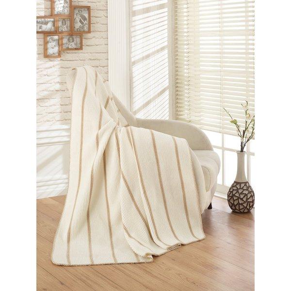 Ottomanson Ottomanson Ivory and Beige Striped 50 x 65 Soft Cotton Cozy Fleece Blanket