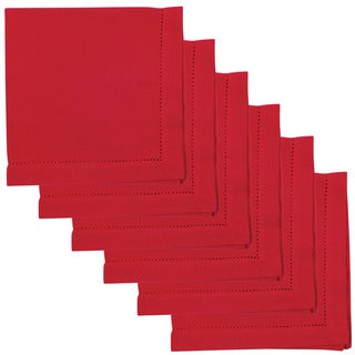 Hemstitch Napkins 100-percent Cotton Chile Red Set of 6