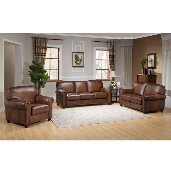 Oasis Premium Brown Top Grain Leather Sofa, Loveseat and Chair ...