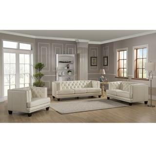 Elle Tufted Premium Cream Top Grain Leather Sofa, Loveseat and Chair