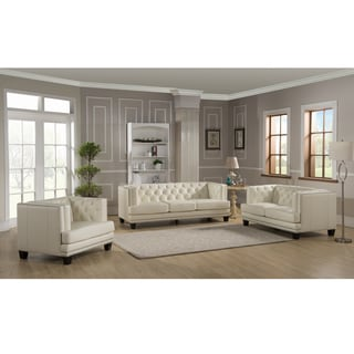 Elle Tufted Premium Cream Top Grain Leather Sofa, Loveseat and Chair