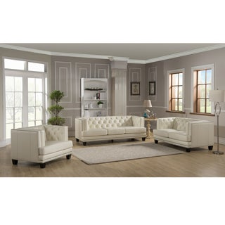 Elle Tufted Premiun Cream Top Grain Leather Sofa, Loveseat and Chair
