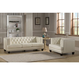 Elle Tufted Premium Cream Top Grain Leather Sofa and Chair