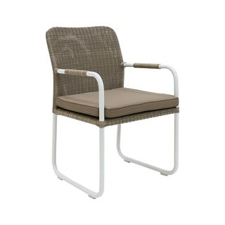 Somette Dulac Beige Multicolor Wicker Indoor/Outdoor Dining Armchair