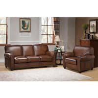 Oasis Premium Brown Top Grain Leather Sofa and Chair