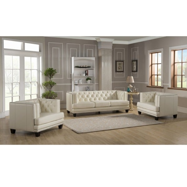 Elle Tufted Premium Cream Top Grain Leather Sofa and Two Chairs