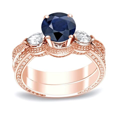 Auriya 14k Gold Vintage 1/2ct Sapphire and 1/3ctw 3-Stone Diamond Engagement Ring Set