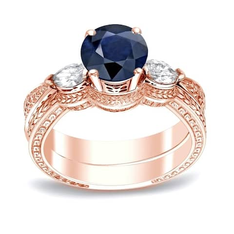Auriya 14k Gold Vintage 1/2ct Sapphire and 1/3ctw 3-Stone Diamond Engagement Ring Set