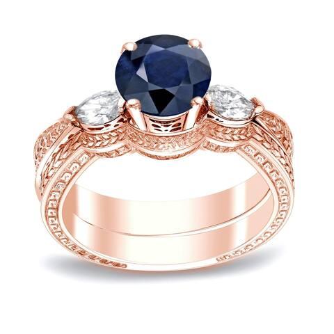 Auriya Vintage 1/2ct Sapphire and 1/3ctw 3-Stone Diamond Engagement Ring Set 14k Gold