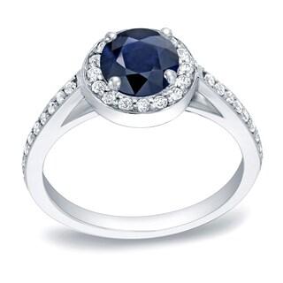 Auriya 3/4ct Blue Sapphire Halo Diamond Engagement Ring 1/3cttw 14k Gold
