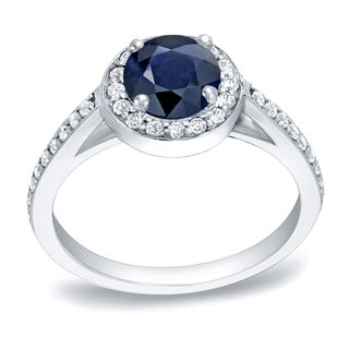 Auriya 14k Gold 3/4ct Blue Sapphire and 1/3ct TDW Round Diamonds Engagement Ring (H-I, SI1-SI2)