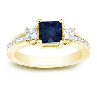 Auriya 14k Gold 3/4ct Blue Sapphire and 3/4ct TDW Princess-Cut Diamonds Engagement Ring
