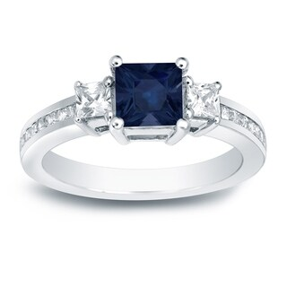 Auriya 14k Gold 3/4ct Sapphire and 3/4ct.TDW Diamond 3-Stone Engagement Ring