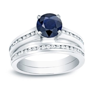 Auriya 14k Gold 3/4ct Blue Sapphire and 3/4ct TDW Round Diamonds Engagement Ring (H-I, SI1-SI2)