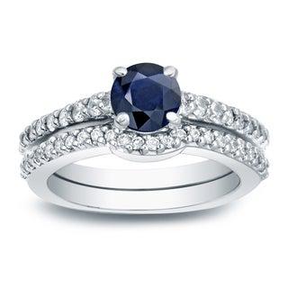 Auriya 14k 1/2ct Blue Sapphire and 1/2ct TW Round Diamonds Engagement Ring (H-I, SI1-SI2)