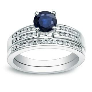 Auriya 14k Gold 3/5ct Blue Sapphire and 2/5ct TDW Round Diamond Bridal Set (H-I, SI1-SI2)