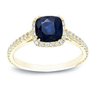 Auriya 14k Gold 3/4ct Blue Sapphire and 3/4ct TDW Cushion Diamonds Engagement Ring (H-I, SI1-SI2)